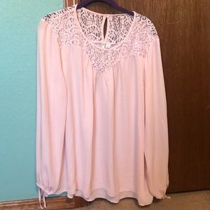 Cato pink lace detail blouse